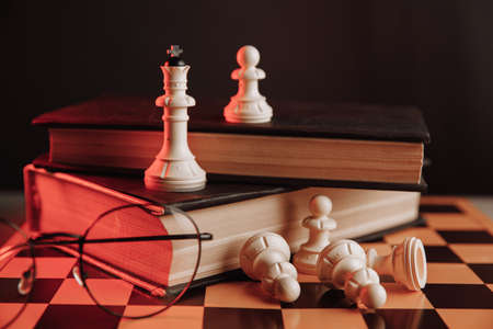 Chess pieces on the chessboard with books. Business and strategy concept