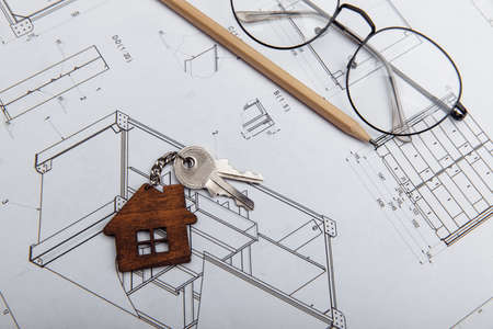 Architectural project and house key