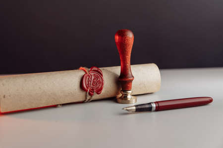 Scroll with wax seal stamp of notary public