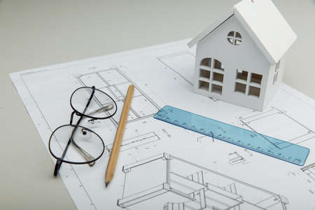 Architectural project, house and glasses 版權商用圖片