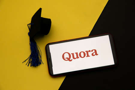 Tula, Russia - April 08, 2021: Quora logo on iPhone display