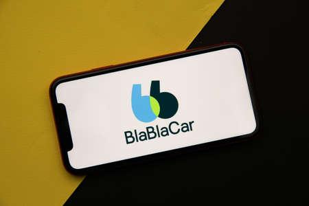 Tula, Russia - April 08, 2021: BlaBlaCar logo on iPhone display