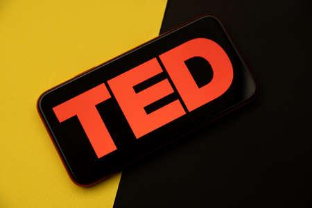 Tula, Russia - April 08, 2021: TED logo on iPhone display 新聞圖片