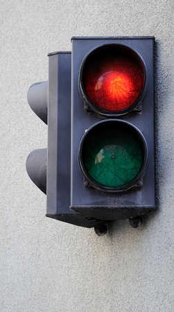 trafficlight: Traffic light fixed on the wall