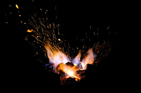 Embers and Flames of a smith's forge Stock Photo