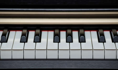 old piano: Digital electric piano keys closeup