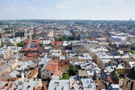 birdseye view: Lviv birds-eye view of from of the City Hall, Ukraine Stock Photo