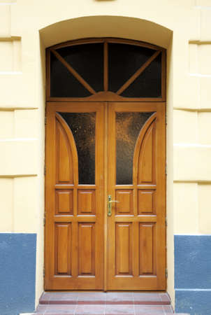 inserts: Beautiful wooden door with glass inserts .. Stock Photo