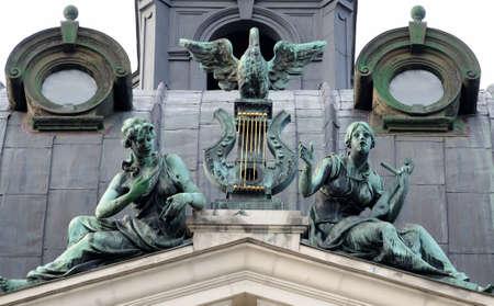 viennese: Bronze symbolic sculpture . Solomiya Krushelnytska Lviv State Academic Opera and Ballet Theatre (1897 - 1900). Theatre was built in Viennese neo-Renaissance style. Ukraine. Editorial