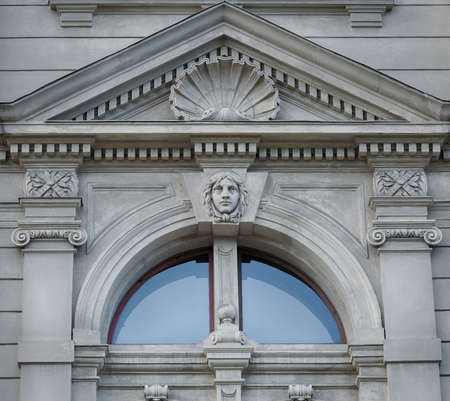 baroque architecture: Bas-relief on facade of Lviv State Academic Opera and Ballet Theatre. Theatre was built in classical tradition of Renaissance and Baroque architecture (Viennese neo-Renaissance style). Ukraine. Stock Photo