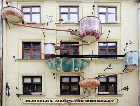 lvov: LVIV, UKRAINE - April 16: In the center of the city opened a cafe Lvov Chocolate Workshop with unusual architecture on April 16, 2015