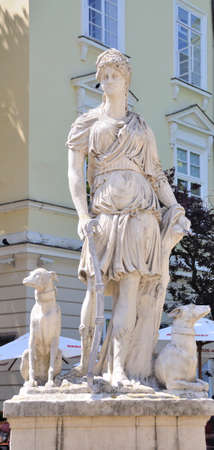 lady diana: Statue of the Diana, the goddess of nature and hunting in lvov, Ukraine
