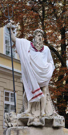 neptun: An ancient statue  in the central square of Lviv - Market (Rynok) Square near City Hall. Lviv - city in western Ukraine, capital of historical region Galicia