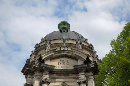 soli: Detail of dome of Dominican Church. Dominican Church was created in 1749 in Lviv, Ukraine. Lviv - Capital of historical region of Galicia. Lviv historic city center is on UNESCO World Heritage List.