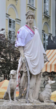 lemberg: An ancient statue  in the central square of Lviv - Market (Rynok) Square near City Hall. Lviv - city in western Ukraine, capital of historical region Galicia