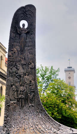 lemberg: Monument of poet Taras Shevchenko in Lviv, Ukraine. Lviv - Capital of historical region of Galicia. Lviv historic city center is on UNESCO World Heritage List.