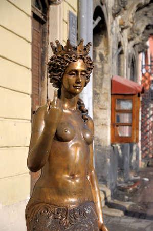 lviv: LVIV; UKRAINE - February 05: Sculpture - Nympha Melusine on February 05, 2014 in Lviv, Ukraine.