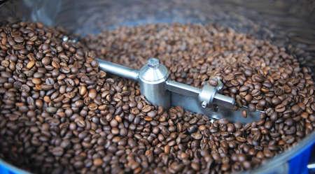Roaster: Freshly roasted coffee beans in a coffee roaster