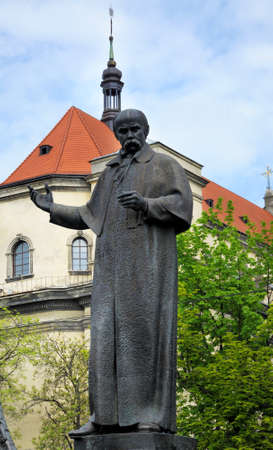 national poet: The monument to Taras Shevchenko in Lviv. Ukraine Stock Photo