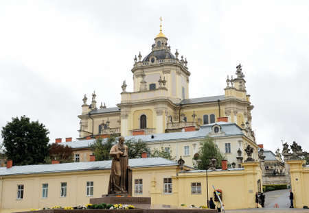 A monument to Andrey Sheptytsky in Lviv, on the square near the Church of St. George.  27 September 2015. Lviv, Ukraine