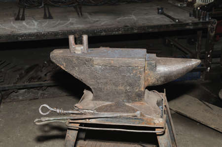 medieval blacksmith: Tools - anvil used by a blacksmith in old shop