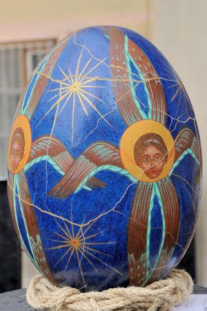lvov: LVIV, UKRAINE - April 04: Big fake Easter eggs at the festival of Easter eggs in the center of Lviv on April 04, 2015 in Lvov