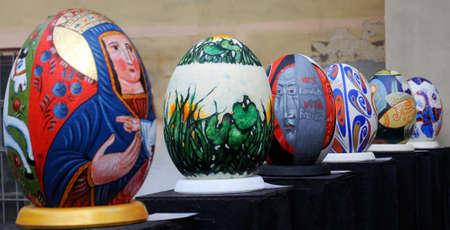 giant easter egg: LVIV, UKRAINE - April 04: Big fake Easter eggs at the festival of Easter eggs in the center of Lviv on April 04, 2015 in Lvov