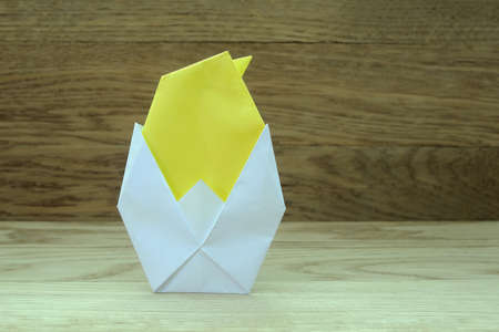 bird view: origami chicken from paper ( Easter theme ) Stock Photo