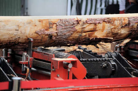 Image of machine for sawing wood at sawmill Stock Photo