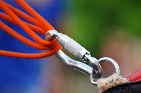 Climbing sports image of a carabiner on a rope Stock Photo