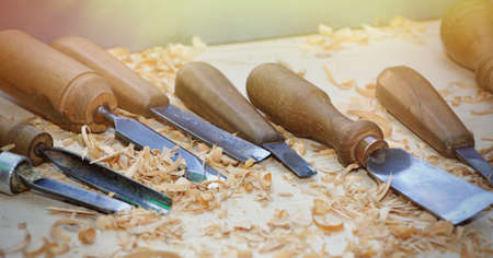 Old tools on wooden background. Cutters on wood.