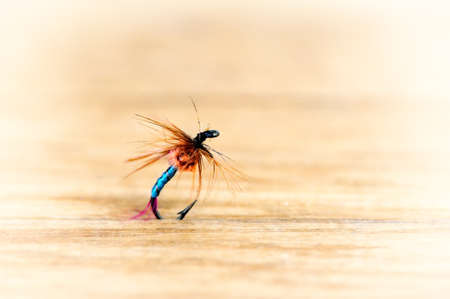 Lures flying for fishing close-up in retro style