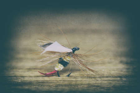 Fly fishing lure close-up in retro style