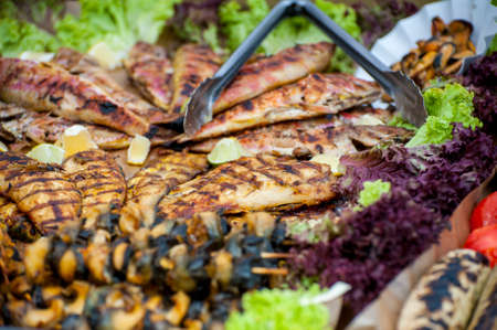 Street Food Festival . Fresh street food closeup .