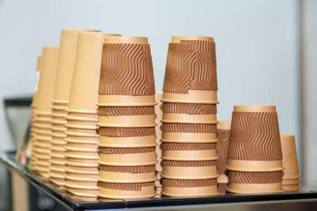 paper cups for coffee on restaurant table