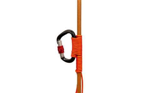 Carbine tied with a rope to a wooden bar close up isolated on white background Stock Photo