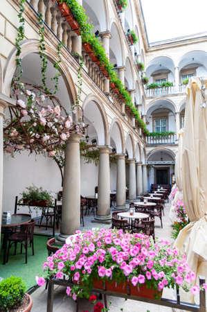 Italian courtyard (Palace Kornyakta) in Lviv, Ukraine.