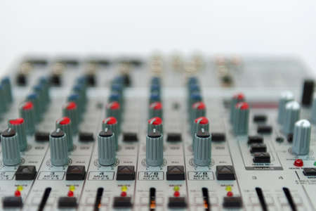 Close up of sound mixing console. Details of sound engineer room. 写真素材
