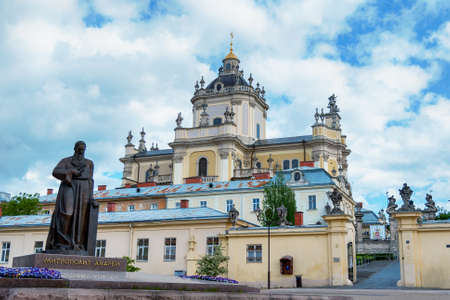 St. George's Cathedral in Lviv (Lvov). Andrew Sheptytsky monument near st. George church in Lvov Ukraine