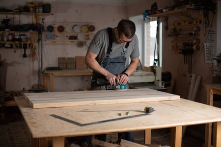 Working process in the carpentry workshop.