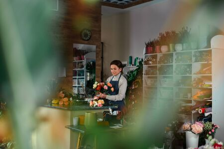 The interior of the flower shop. Stock Photo