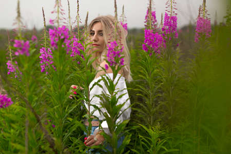 A beautiful model girl in a white blouse stands on a green meadow among purple flowers on a clear summer day. Photo in the field. Summer mood. High quality photo