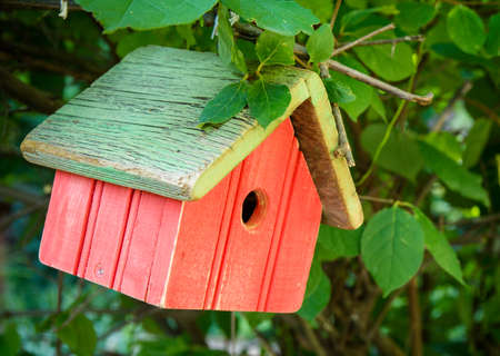 An empty weathered red birdhouse hangs from a branch with leaves Stock Photo