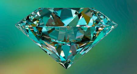Diamond,gemstone or crystal reflecting light on green background
