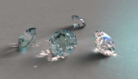 carbuncle: Four sparkling diamonds, crystals or precious stones next to each other with reflections and refractions