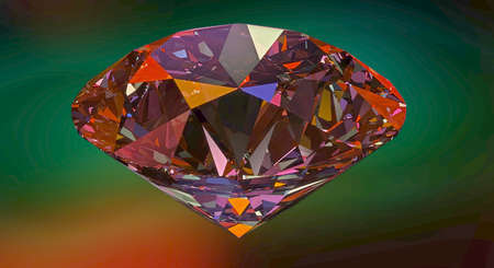 gemstone: Diamond,gemstone or crystal reflecting light on red background