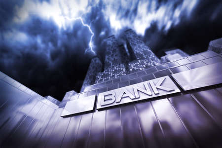 financial district: Dramatic scene of a financial institute or bank in thunderstorm an a thunderbolt hitting a skyscraper. Stock Photo