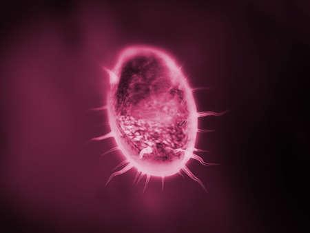 Protozoa or micro organism colored in dark red