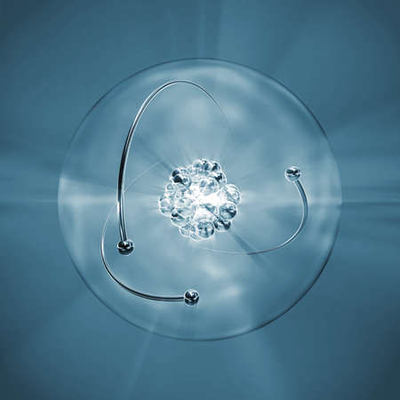 nucleus: Atom with nucleus, atomic shell and orbiting electrons in monochromatic blue
