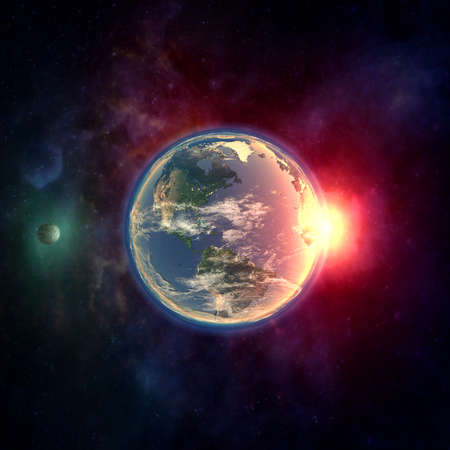 atmospheres: Planet earth in outer space with moon, atmosphere, dust clouds, universe, stars,gallaxies and sunlight